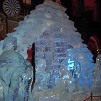 The ice nativity scene in the Landhaus courtyard